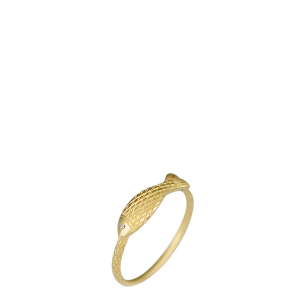 18K Gold Fish Ring with Diamond Eye