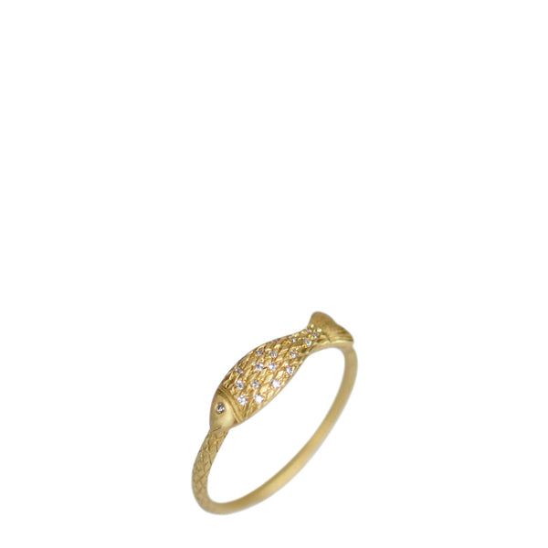 18K Gold Fish Ring with Diamond Scales