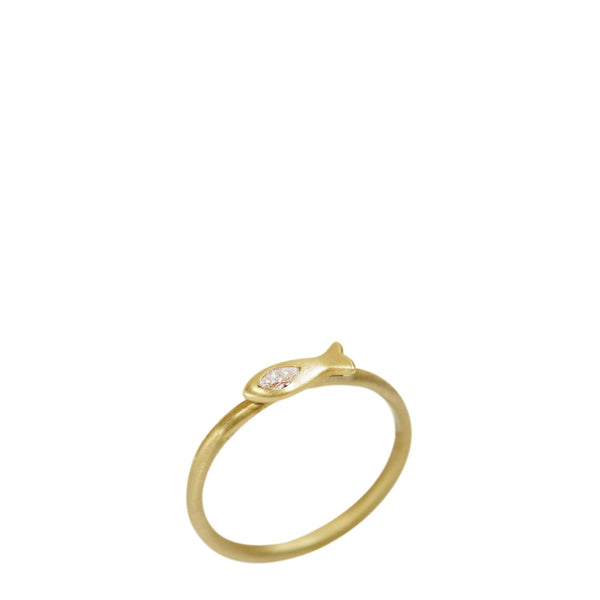 18K Gold Tiny Fish Ring with Marquise Diamond