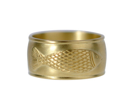 Men's 18K Gold Wide Men's Fish Ring
