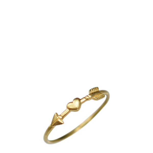 18K Gold Arrow & Heart Ring
