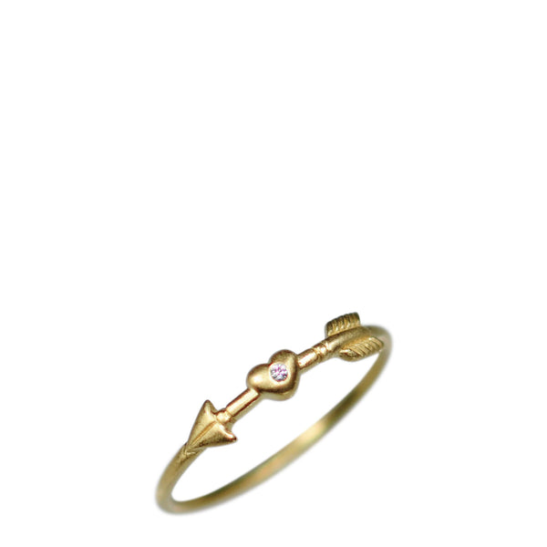 18K Gold Arrow & Heart Ring with Diamond