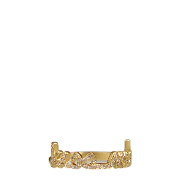 "18K Gold Pave ""Kiss Me"" Ring with Diamonds"