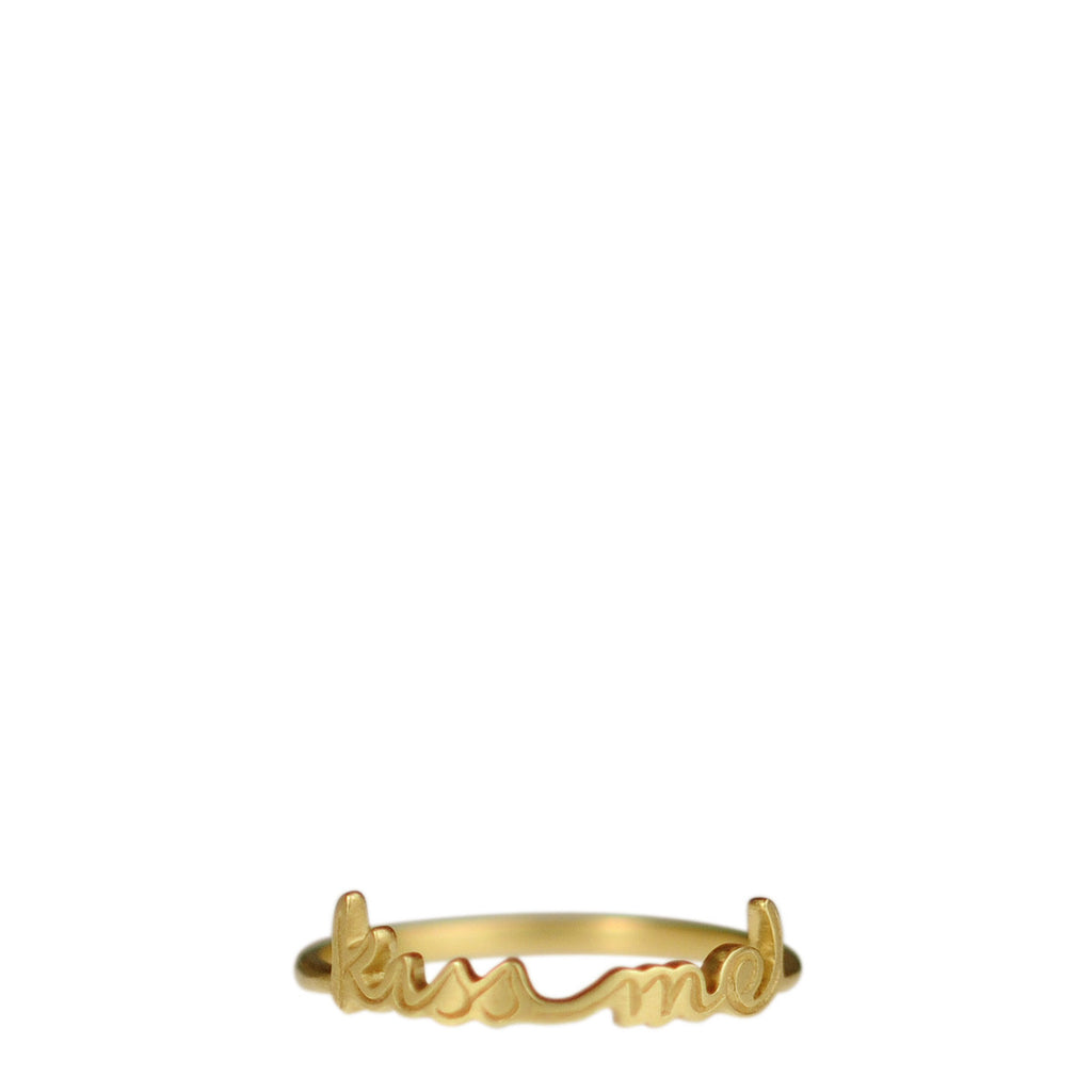"18K Gold ""Kiss Me"" Script Ring"