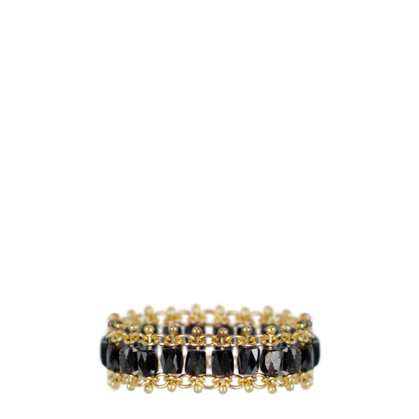 18K Gold Fine Slinky Tube Ring in Black Diamonds