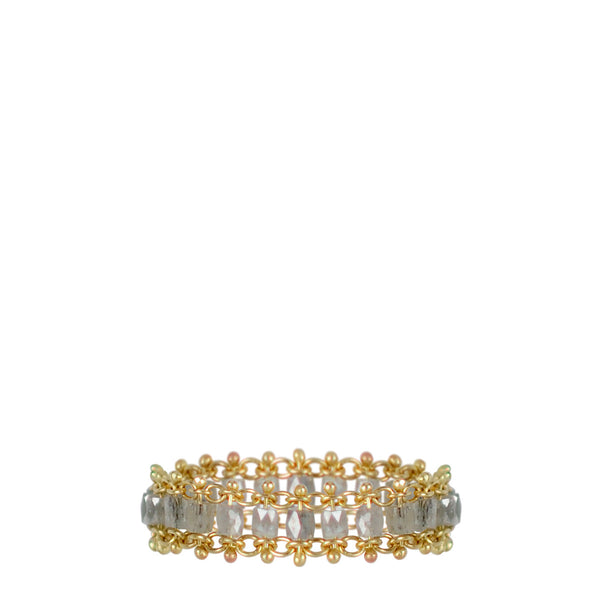 18K Gold Fine Slinky Tube Ring in Grey Diamonds