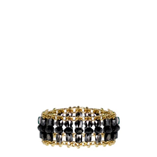 18K Gold Medium Slinky Tube Ring in Black Diamonds