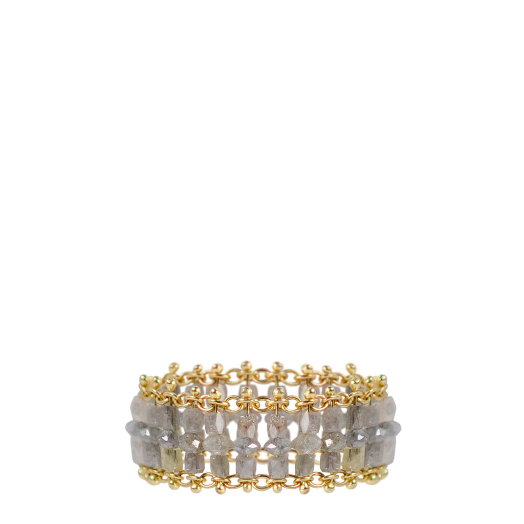 18K Gold Medium Slinky Tube Ring in Grey Diamonds