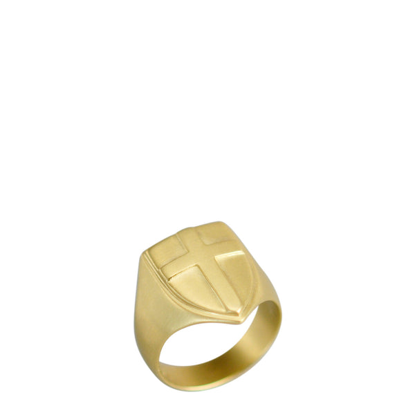 18K Gold Shield Ring