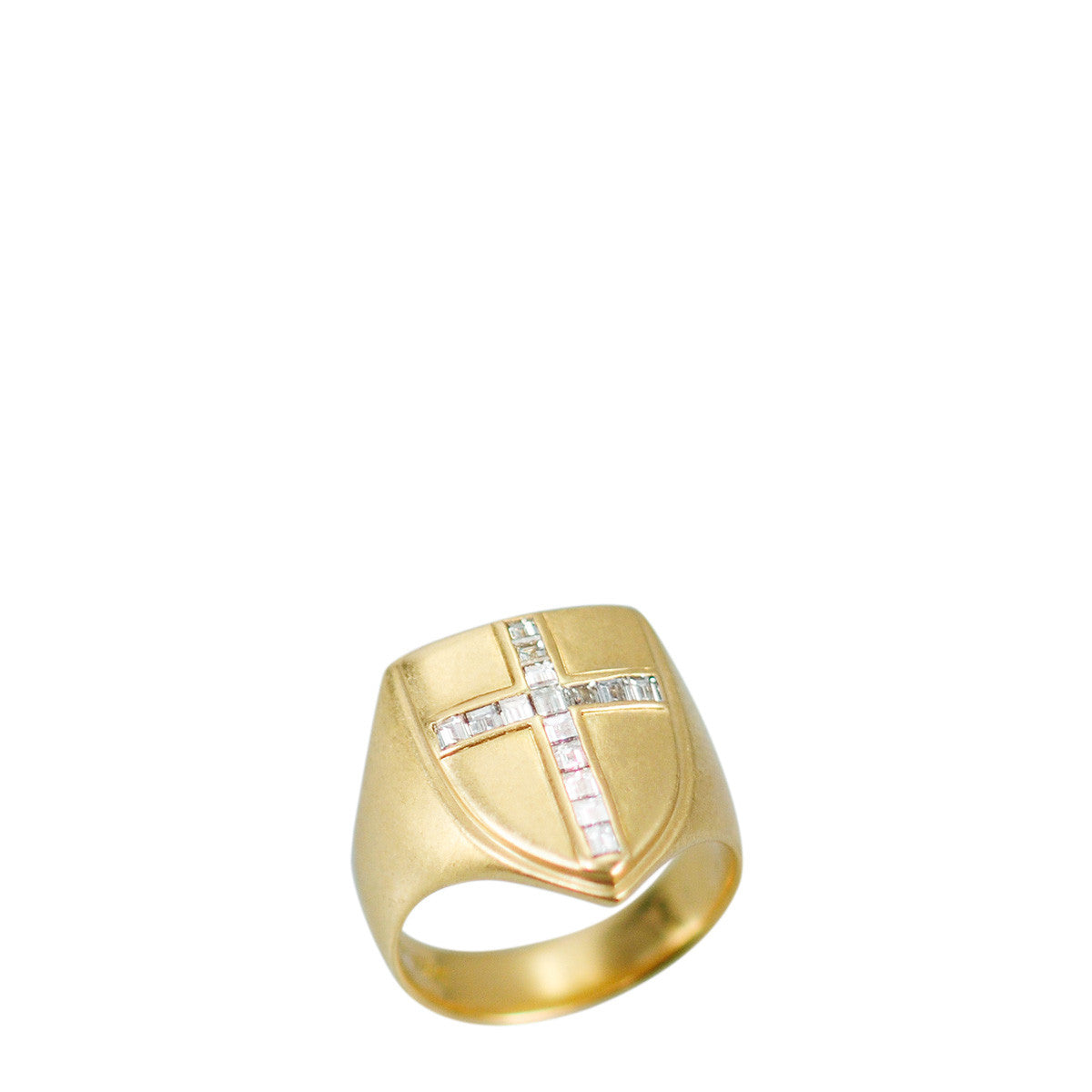 18K Gold Shield Ring with Champagne Diamonds