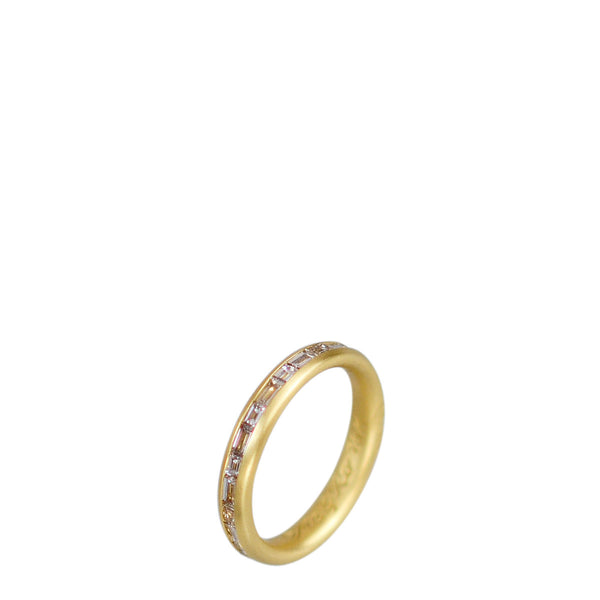 18K Gold Fine Band with Champagne Baguette Diamonds