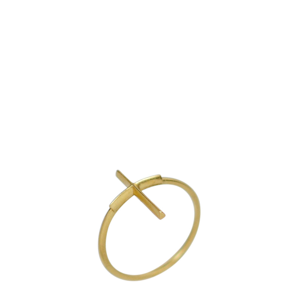 18K Gold Fine Cross Ring