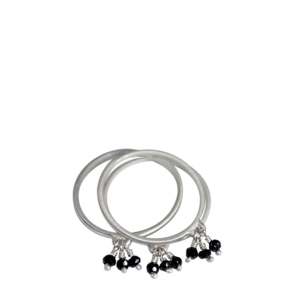 Sterling Silver Thin Rings with Black Spinel