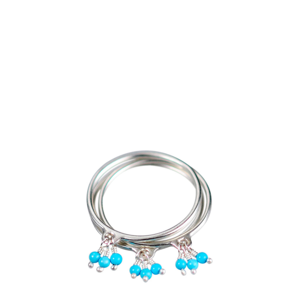 Sterling Silver Thin Rings with Turquoise