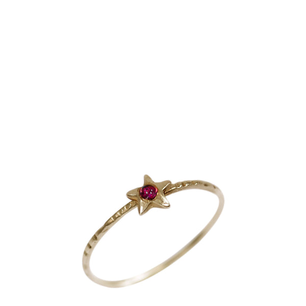 10K Gold Tiny Star Ring with Ruby