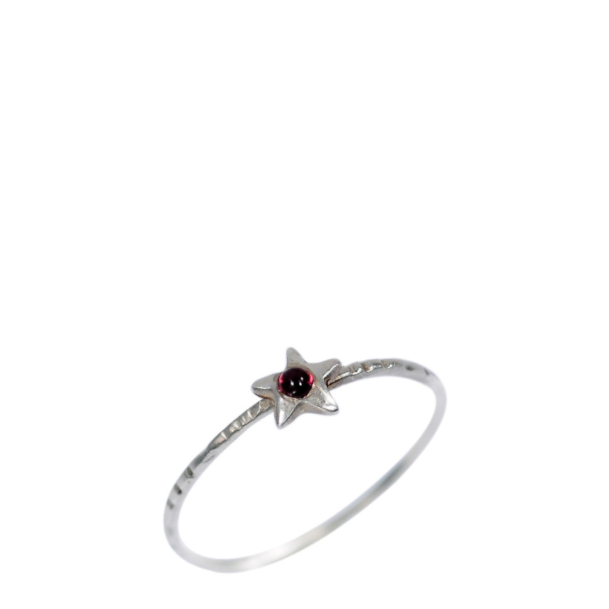 Sterling Silver Tiny Star with Garnet Ring