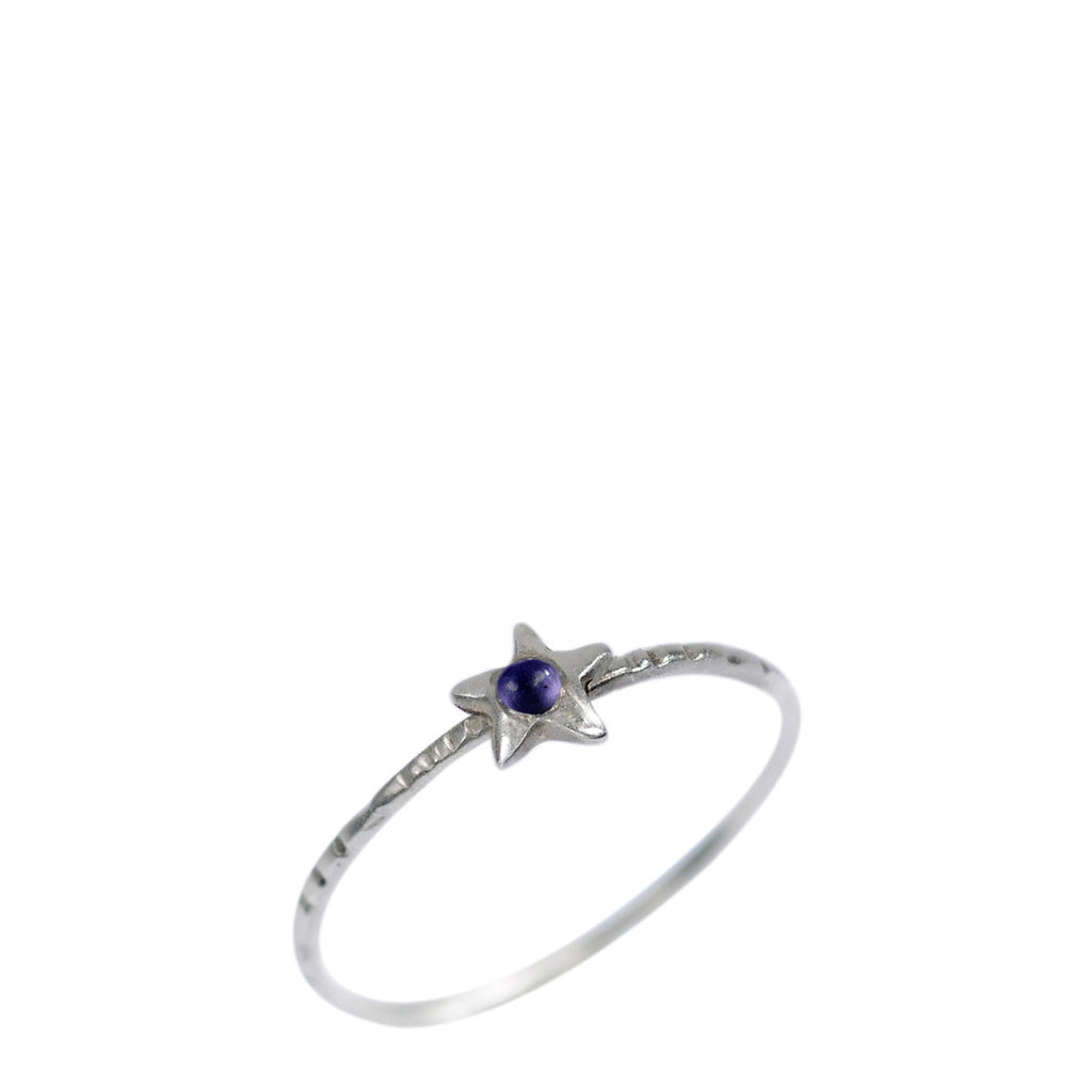 Sterling Silver Tiny Star with Iolite Ring