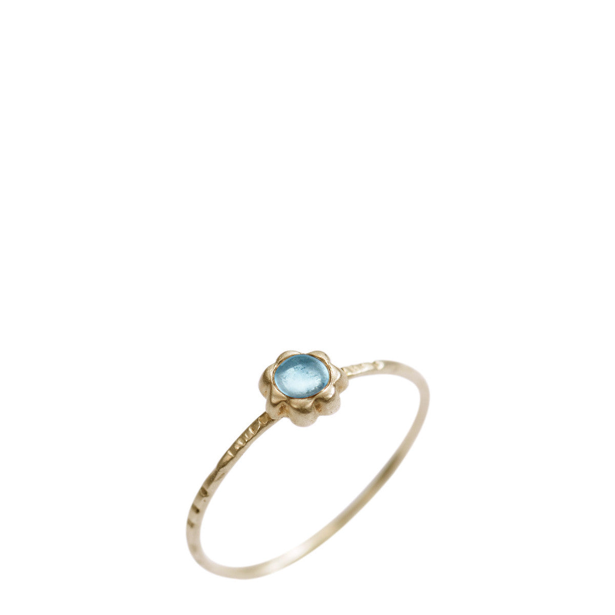 10K Gold Star Flower with Blue Topaz Ring