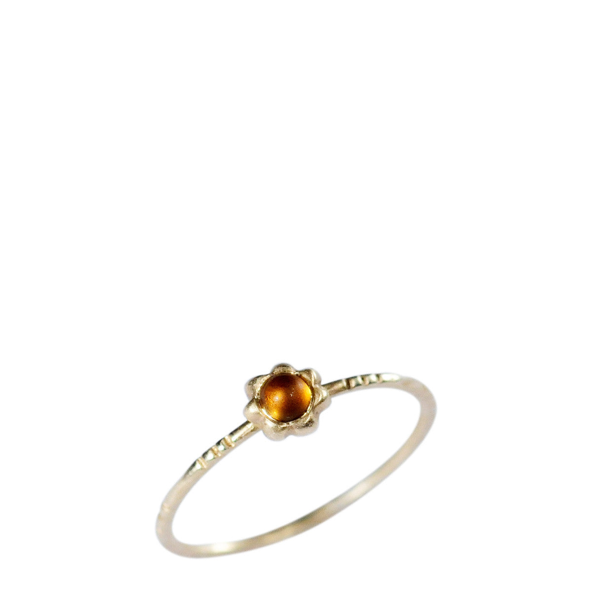 10K Gold Star Flower with Citrine Ring