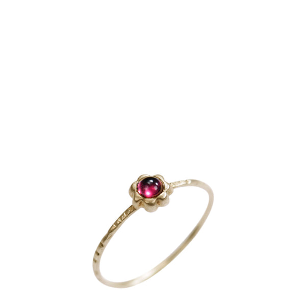 10K Gold Star Flower Ring with Garnet