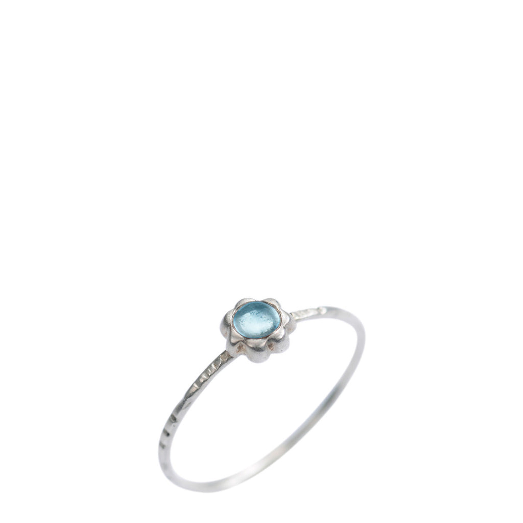 Sterling Silver Star Flower with Blue Topaz Ring