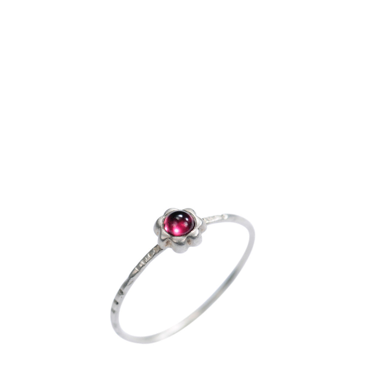 Sterling Silver Star Flower with Garnet Ring