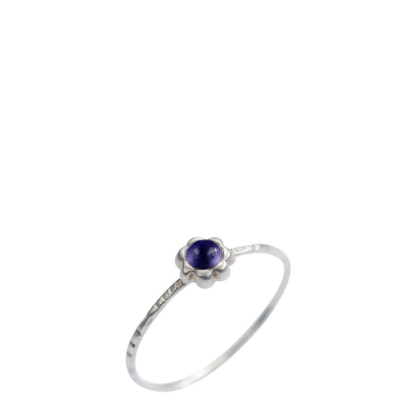 Sterling Silver Star Flower with Iolite Ring