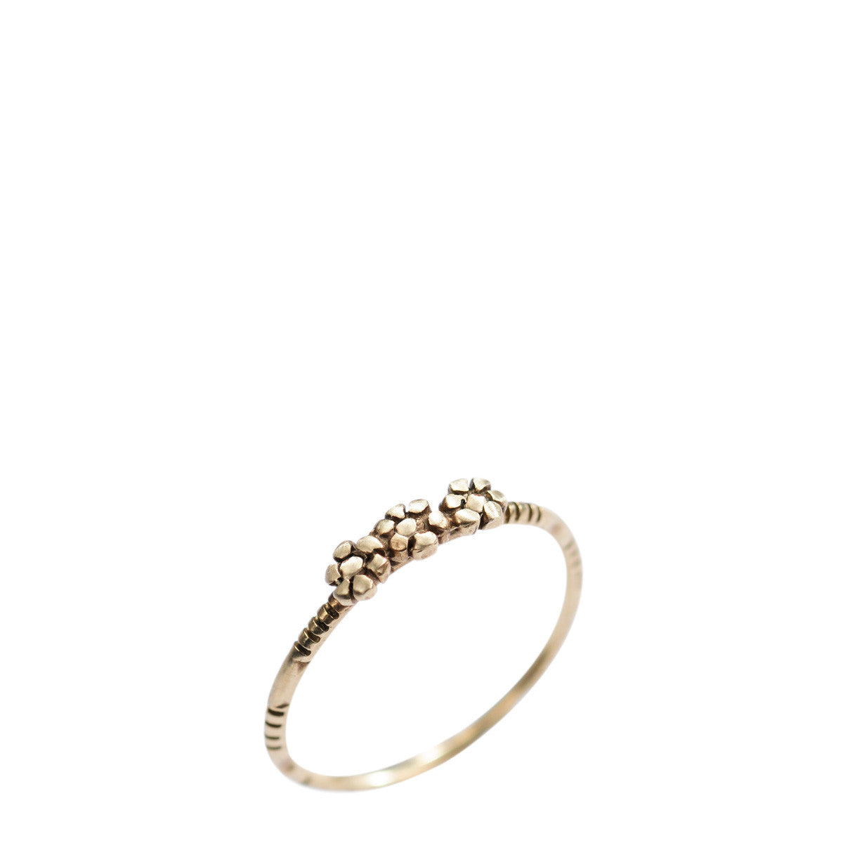 10K Gold Triple Flower Ring