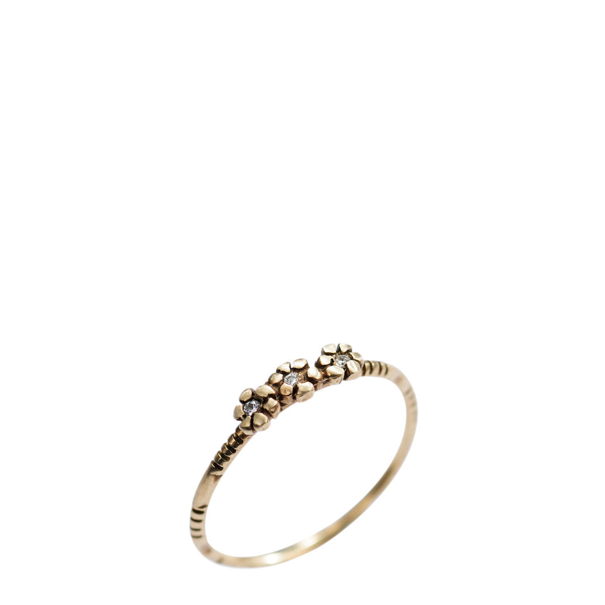 10K Gold Triple Tiny Flower Ring with Diamonds