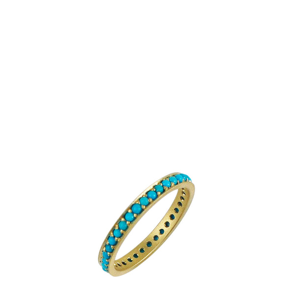 18K Gold 2.5mm Band with 1.5mm Turquoise