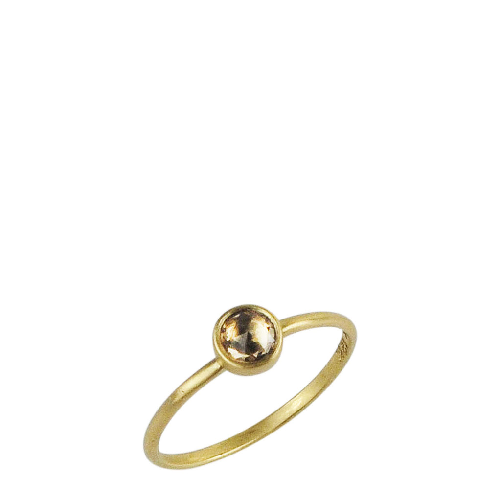 18K Gold Tiny Yellow Sapphire Ring