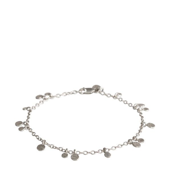Sterling Silver Tiny Hammered Disc Bracelet