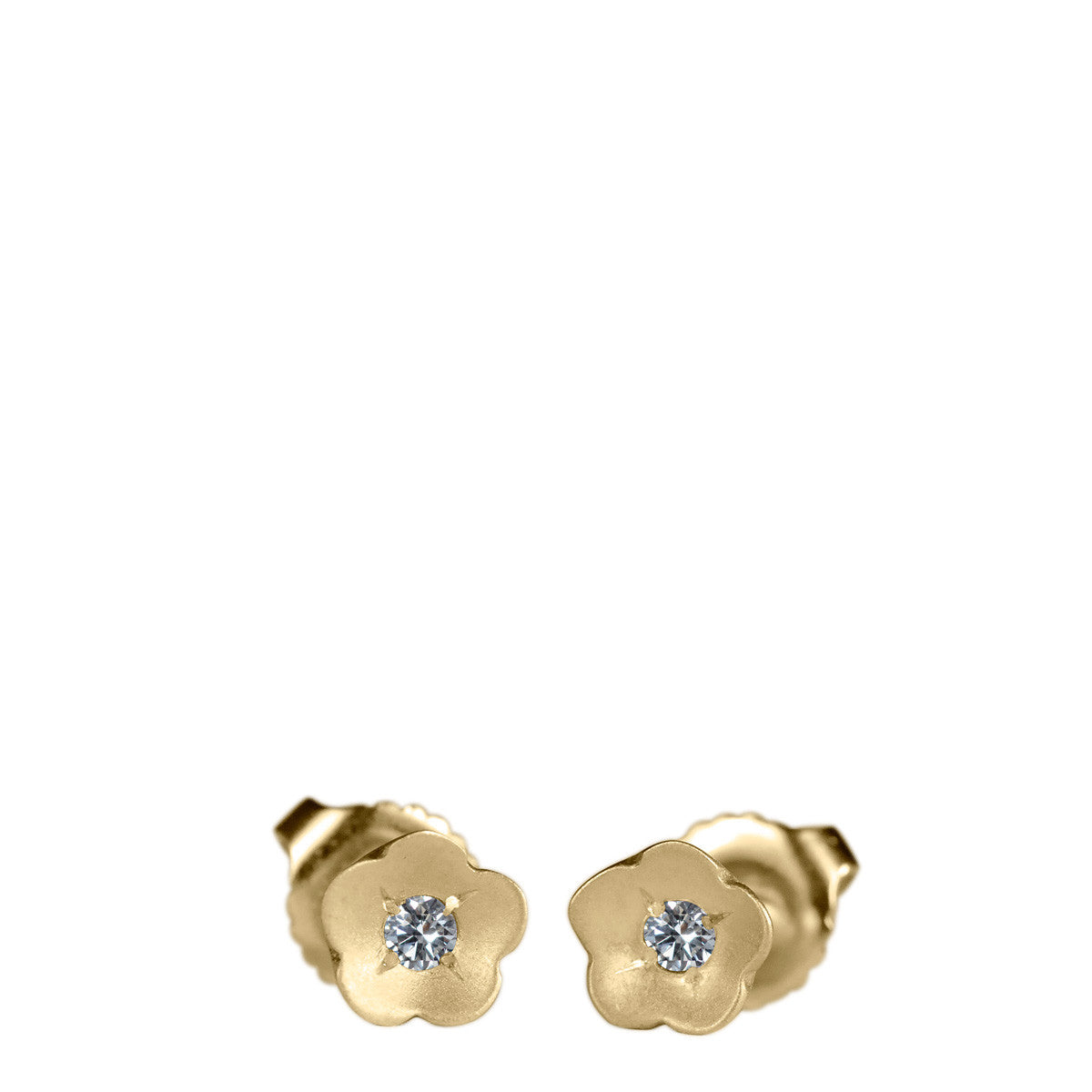 10K Gold Buttercup Stud Earrings with Diamonds