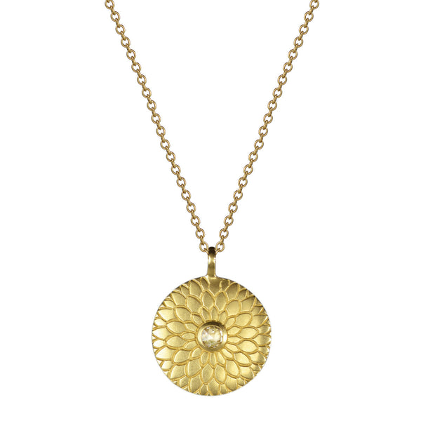 18K Gold Medium Lotus Mandala Amulet with Diamond