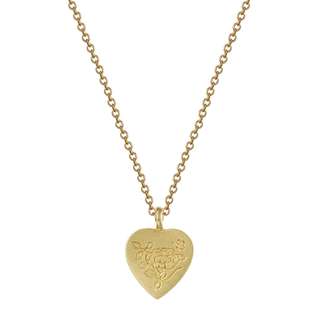 18K Gold Small Engraved Heart Pendant