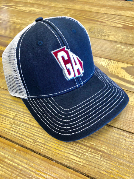 20107d53c0f Georgia 2.0 State Hat Navy with White Letters and Red Fill
