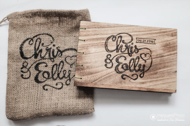 <div>A personalized burlap bag made to match the Wedding Guest Book.</div> <div></div>