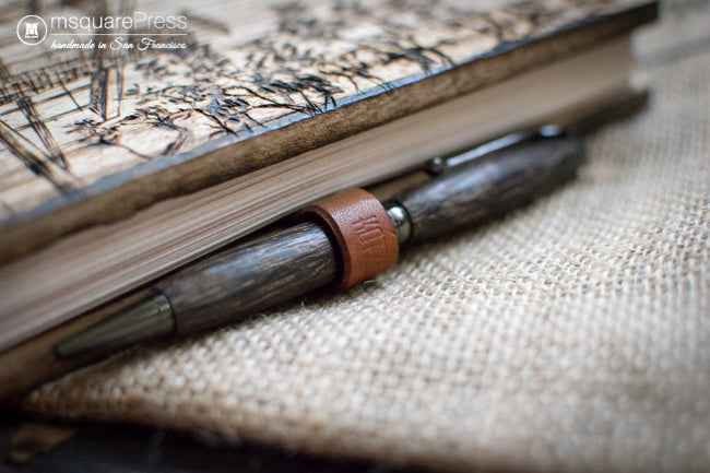 Personalized leather pen holder