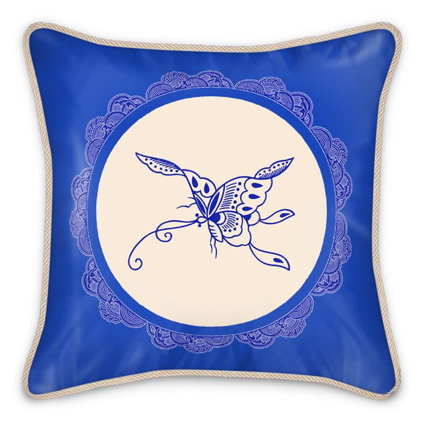 Chinoiserie Butterfly Silk Pillow