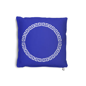 Blue & White Oriental Motif Frame Pillow