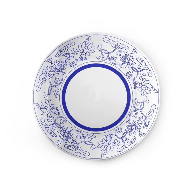 Chinoiserie Lotus Ceramic Plate