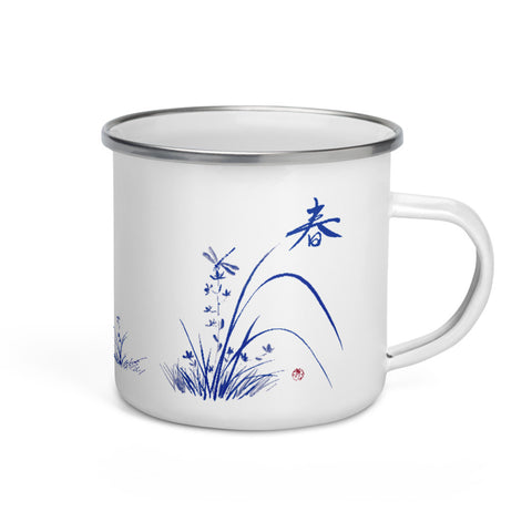Chinoiserie Dragonfly on Orchid Enamel Mug