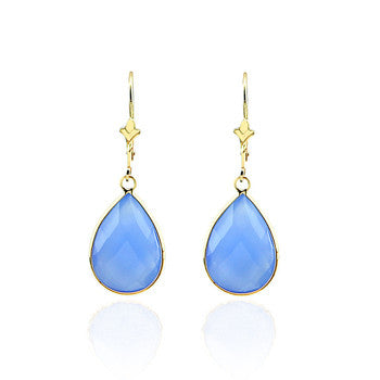 14kt yellow gold Blue Chalcedony drop earring