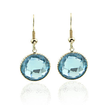 14kt yellow gold Blue Topaz drop earring