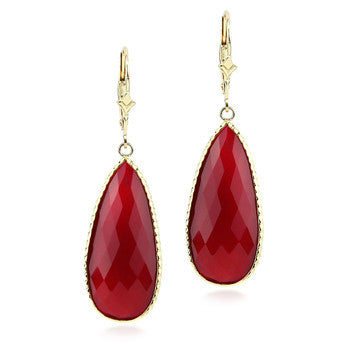 14kt yellow gold Ruby Red Chalcedony drop earrings