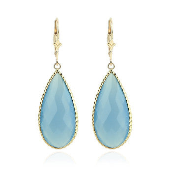 14kt Yellow Gold Blue Chalcedony Pear shaped dangle