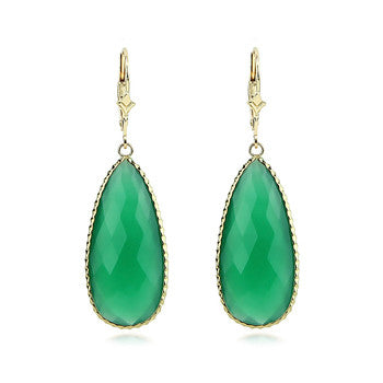 14kt yellow gold Green Onyx Gemstone Earring