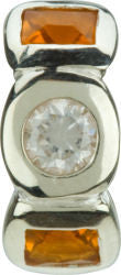 Chamilia Silver Clear & Brown CZ Circle & Square Charm