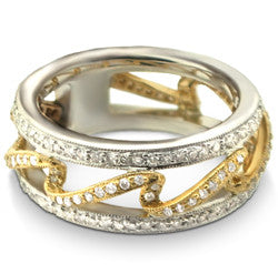 14k Two Tone Double Bar and Wave Diamond Band