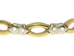 14k Two-Tone Burnished Diamond Bracelet